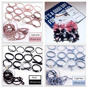 Hair ties in PINK, BLACK, BLUE, or MULTI